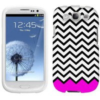 Samsung Galaxy S3 Chevron Black White Pink Ribon Phone Case