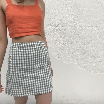 SIDE PARTY | Garden Gingham Skirt - Dusty Blue & White Gingham