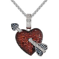 Men's Iced out Arrow And Heart Necklace Custom Pendant Chain