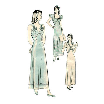 1940s LINGERIE PATTERN Nightgown Pattern Sexy Negligee Loungewear Pajamas Nightie Hollywood Pattern 1247 Womens Sewing Patterns 32 Bust 40s