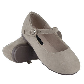 Girls Ankle Strap Ballet Flats Taupe