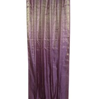 Mogulinterior 2 Indian Sari Curtains Purple Golden Brocade Silk Saree Drapes Panels Window Treatment
