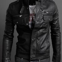 Handmade Men leather Jacket, Men biker leather Jacket Black and Brown