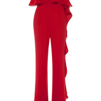 Strapless Stretch Cady and Silk Georgette Jumpsuit | Moda Operandi