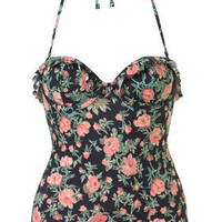 Navy Vintage Floral Print Frill Padded Swimsuit - Swimwear - Clothing - Topshop USA