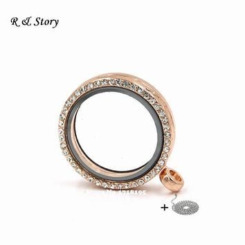 2015 New Hot Rose Gold Magnetic Crystal Living Memory Locket Floating Charms with Chain LFL_087