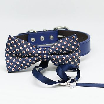 Navy and Red Dog Bow tie Ring Bearer collar, Chic and Elegant, Pet Wedding, Proposal