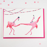 Pink flamingo Greeting card, swing dancing for birthday or wedding