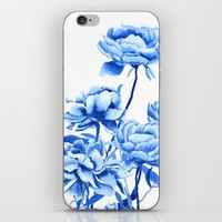 blue peonies 2 iPhone & iPod Skin by Color and Color