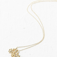 Triple Flower Charm Necklace in Gold - Urban Outfitters
