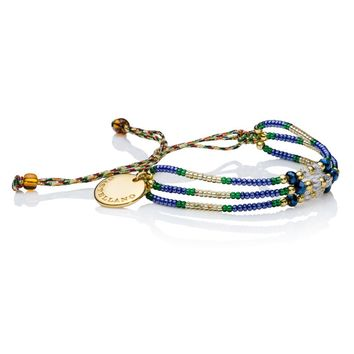Wayuu Handwoven Gold Plated Love Yourself Beads Bracelet (Blue Navy) - Castellano