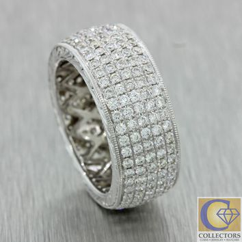 Modern 18k Solid White Gold 2.50ctw Diamond 5 Row 8mm Wide Eternity Band Ring