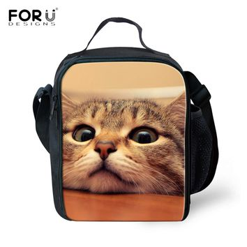 FORUDESIGNS Thermos Cooler Kids Lunch Bags Cute Animal Cat Dog Printed Lunch Box for Girls School Student Lancheira for Women