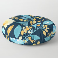 Teal and Golden Floral Floor Pillow by noondaydesign