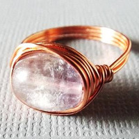 Rainbow Fluorite Ring, Copper Ring, Wire Wrapped Ring, Unique Ring, Christmas Gift, Gift for Best Friend, Homemade Jewelry, Purple Stone