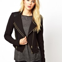 Vila Gold Zip Detail Blazer