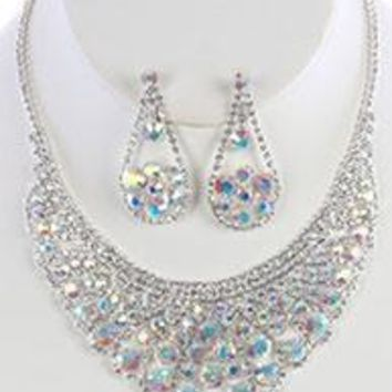 AURORA BIB RHINESTONE CHOKER NECKLACE AND EARRING SET