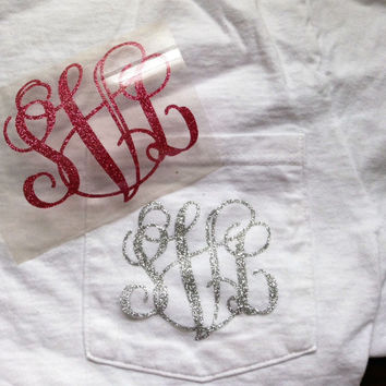 Glitter Heat Transfer Monogram for T Shirts Sweatshirts Pillows