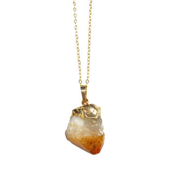 Raw Citrine Point Necklace