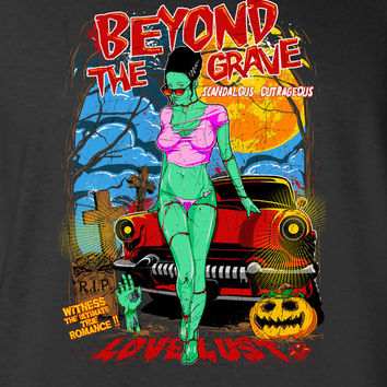 Beyond the Grave shirt, pumpkin zombie comic hipster, tattoo, day of the dead, cool skull gift gothic halloween Mens Ladies swag MLG-1087