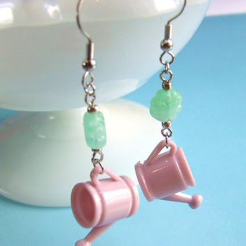 Vintage Watering Can Earrings - Mauve Pink Watering Can - Green Glass Bead Flower - Spring Dangle Earrings - Hypoallergenic Nickel Free