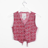 Vintage 90s Shirt Red Paisley Bandana Print Soft Grunge Crop Top Babydoll Tie Back Vest Rayon Country 1990s Cropped Top XS Extra Small XXS