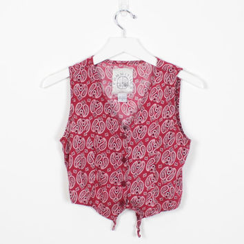 ceaed290aacfb Vintage 90s Shirt Red Paisley Bandana Print Soft Grunge Crop Top Babydoll  Tie Back Vest Rayon