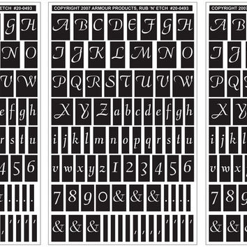 """script letters & numbers etching stencil - 5"""" x 8"""""""