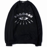 KENZO Women Fashion Eye Embroidery Top Sweater Hoodie