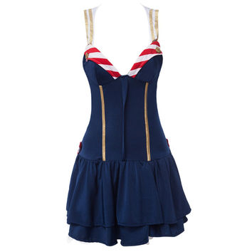 New Arrival High Quality Streak Blue Sexy Navy Uniform Sexy V-Neck Underwear Two-Piece Cosplay Party Halloween Costume For Women