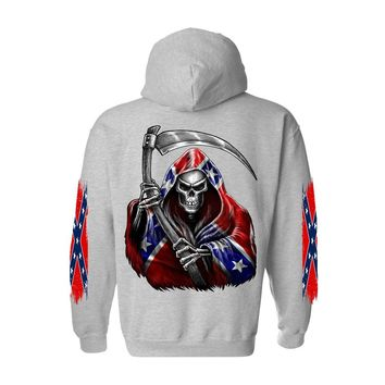 Men's/Unisex Zip-Up Hoodie Rebel Flag Grim Reaper