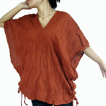 Burnt Orange 'Karen' - Loose Fit V Cotton Blouse - Bohemian Boho Top Casual Cotton Blouse Wide Kimono Sleeve Retro Ethnic Shirt