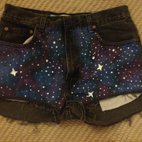 Purple/blue galaxy shorts  by JessieJeans on Etsy