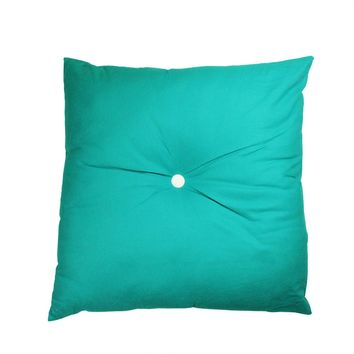 "30"" Urban Life Over-Sized Solid Turquoise Blue and White Tufted Decorative Floor Throw Pillow"
