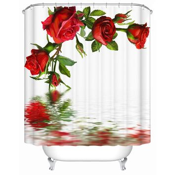 Waterproof Bathroom Shower Curtain Open Red Rose In The Water Shower Curtains Eco-friendly Furniture Accessories  MG-012