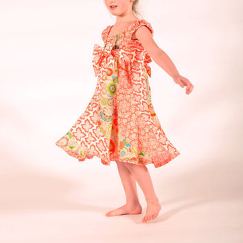 Girl's Dress, Twirly Dress, Peasant Dress, Children, Girl Dresses, Etsy Girl clothing, Sundress, Toddler dress, Size 2T 3T 4T 5 6 7 8