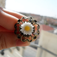white sun flower ring,sunflower ring