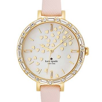 Women's kate spade new york 'metro' crystal bezel heart dial watch, 34mm - Light Pink/ Gold