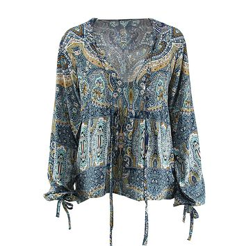 Women Summer Floral Printed Blouses Shirt Bohemian V Neck Lace Up Tops Boho Ethnic Long Sleeve Shirt Vintage Retro Tribal Blusas