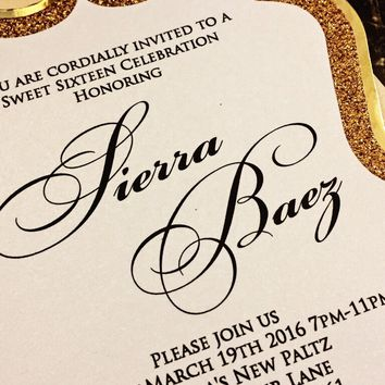 Modern Sweet 16 Invites - Gold Glitter and Foil Sweet 16 Invite - SIERRA VERSION