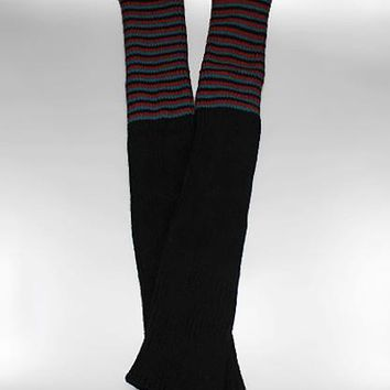 Long Stripe Pattern Knit Boot Cuffs