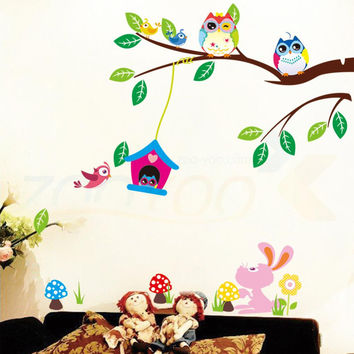 Cute owls playing on trees wall stickers home decoration for kids rooms ZooYoo1017 removable pvc wall decals diy poster 5.0