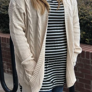 Changing Seasons Cable Knit Cardigan in Cream