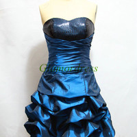 short dark blue sweetheart prom dresses with sequins cheap taffeta homecoming gowns unique folded dress for party