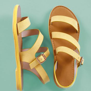 Bamboo Suede Strappy Open Toe Flat Sandal