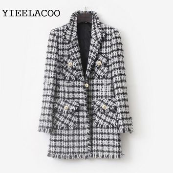 Trendy Black/White Plaid Tweed Jacket 2018 Autumn/Winter Women's Jacket Lapel Slim Mid-length Small Fragrance Jacket AT_94_13