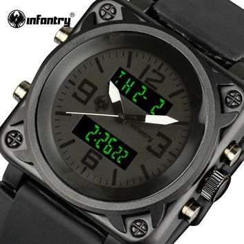 INFANTRY Watches Men Luxury Square Face Chronograph Aviator Military Quartz-watch Rubber Strap Relogio Masculino ping
