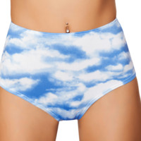 Clouds High-Waisted Rave Pucker Bottoms