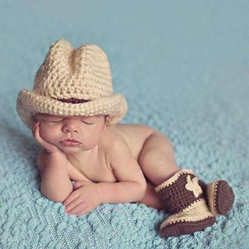 DCK7YE Newborn Photography Props Baby Infant Crochet Knit Cowboy Costume Hat Photo Props Baby