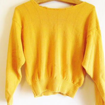Vintage 1980's Slouchy Mustard Yellow Off The Shoulder Sweater